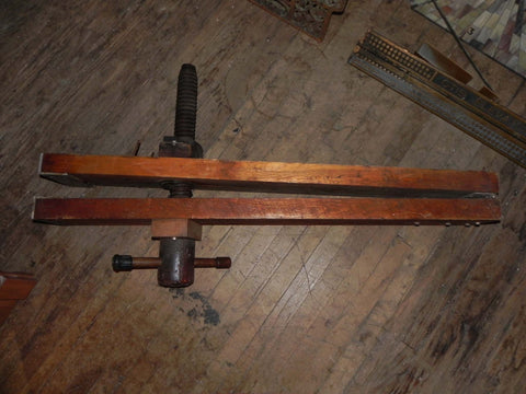Large Early Vintage Wood Clamp with Turned Wood Screw 1860's - 1880's