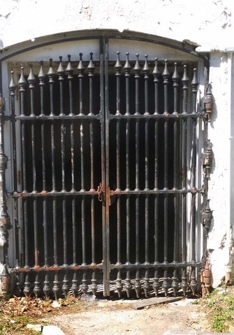 Set of Late 1800's Large Cast Iron Gates w/Jamb