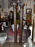 Pair Of Antique Victorian Era Semi Fluted Oak Columns with Decorative Capitals