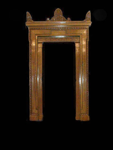 Large Antique Oak Surround in the Classical Style with Carved Pediment