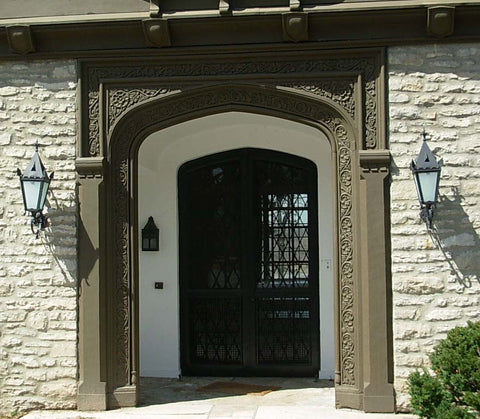 Huge 1925 Carved White Oak Tudor Entry Way