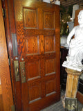 1930's WPA Era Solid Oak 8 Raised Panel Door with Hardware