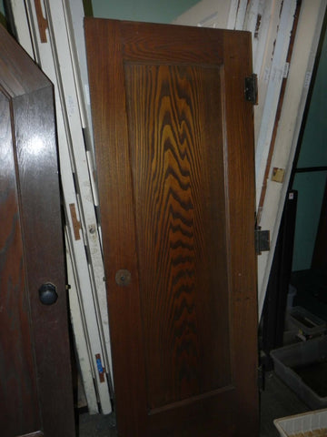 1920's Vintage 1 Panel Oak Door with Hinges