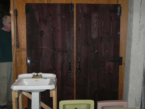 2 Pairs of 1920's Era Rustic Plank Doors complete with Hardware