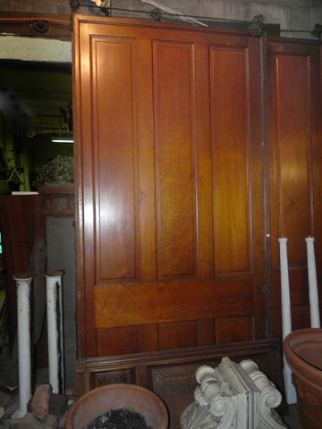 Pair of Large Antique 6 Panel Butternut Pocket Doors w/Carriages