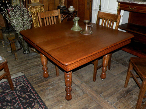 "Vintage 42"" Restored Square Oak Table with Beautiful Ribbed Legs"