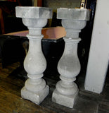 Early Vintage 20th Century Solid Turned Limestone Balusters