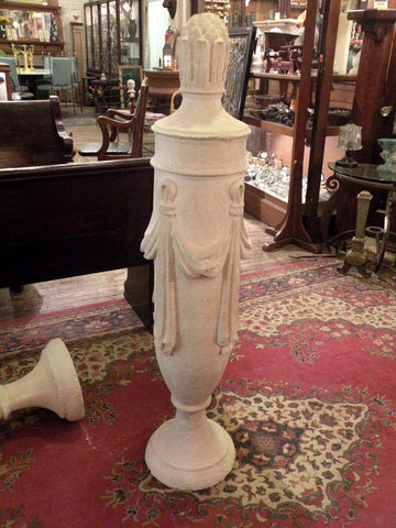 Large Cast Stone Garden Finial in the Classical Style with Pineapple Top & Swags