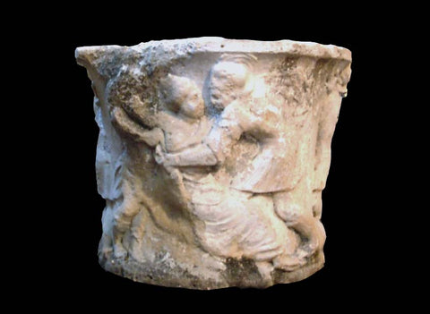 "17th Century Italian Limestone Well Head ""Rape of the Sabine Women"""