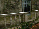 Spectacular 1926 36 ft Long Curved Limestone Railing with Large Cap