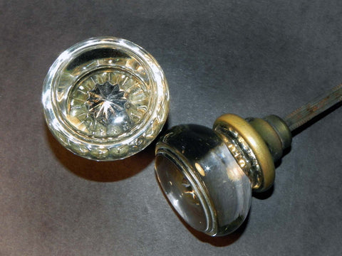 Vintage 1930's 1940's Smooth Flat Face Round Glass Door Knobs