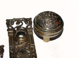 "Antique Door Hardware Bronze Entry Set ""Franconia"" Pattern by Nashua Lock Co."