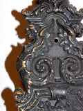 Large Antique Entry Thumb Paddle Hardware Set in Cast Bronze with Griffins