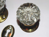 Antique Ribbed Face Glass Door Knobs