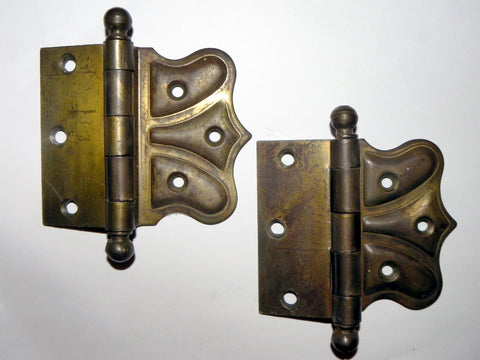 Vintage Brass Plate Arts & Crafts Pointed Lobe HInges