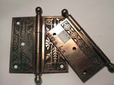 "Pair of Antique ""Leaf"" Pattern Cast Brass Ball Top 4"" x 4"" Hinges"