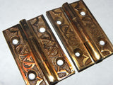 Small Decorative Antique 19th Century Hinge in Brass