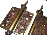 "Antique 1869 Decorative Bronze 3"" x 3"" Motor Box Hinges"