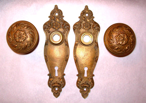 "1905 Antique Corbin ""Piccadilly"" pattern Bronze Interior Door Hardware Sets"