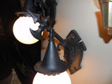 Pair of Vintage Tudor Gothic Exterior Sconces with Glass Globes
