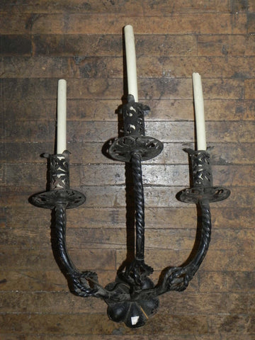 2 Pairs of Large Vintage Iron Sconces
