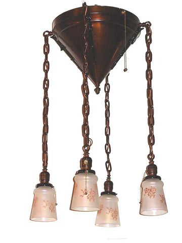 Vintage Arts & Crafts Drop Shade Light Fixture with Etched Shades