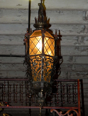 Very Decorative Large Vintage Cast Bronze Lantern Light