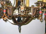 Vintage Tudor Chandelier with Polychrome shields in Bronze