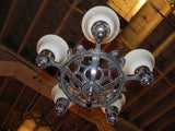 Vintage Art Deco Chandelier w/new Shades