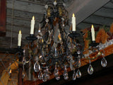 Vintage Black Iron Chandelier with Crystal (not wired)