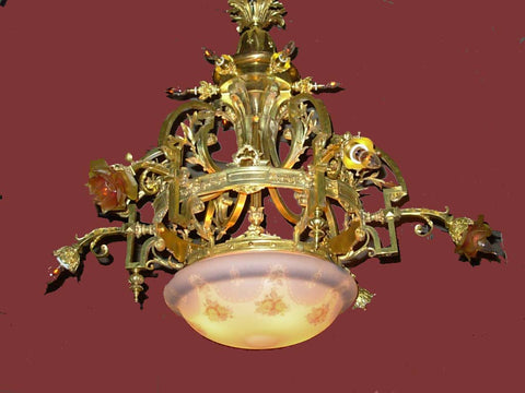 Monumental Decorative French Gilt Bronze Chandelier