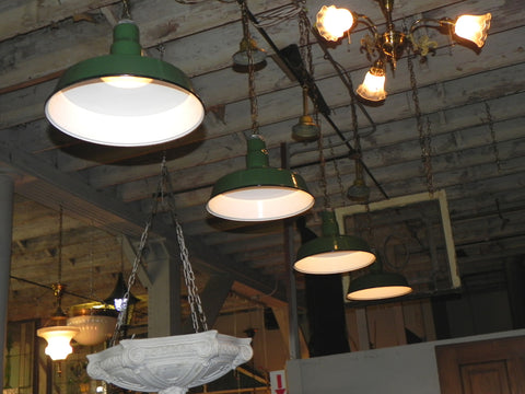 Original Vintage Green & White Porcelain Industrial Lights on Chain