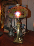 Beautiful Vintage Brass Arts & Crafts Lamp Base with Hand Blown Czech Art Glass Shade