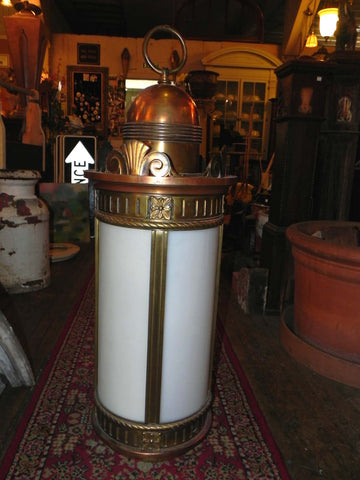Large Vintage Antique Cast Bronze Cylinder Light with White Glass
