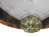 Vintage French Cast Glass & Brass Light Sconces