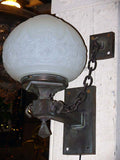 Antique Vintage Exterior 3pc Copper Sconce w/Chains & Decorative Shade