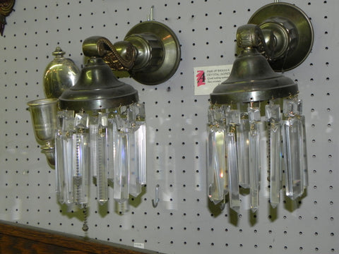 Pair Of Vintage Federal Styled Spun Brass Light Sconces with Colonial Glass Pendent Crystals