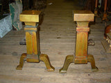 Pair of Vintage Arts & Crafts Brass Andirons