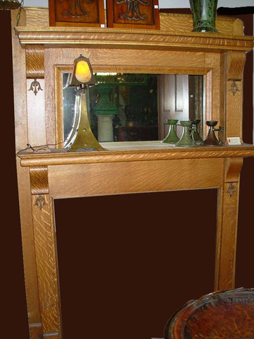 Restored Vintage Arts & Crafts Vintage Fireplace Mantel in Quarter Sawn Oak