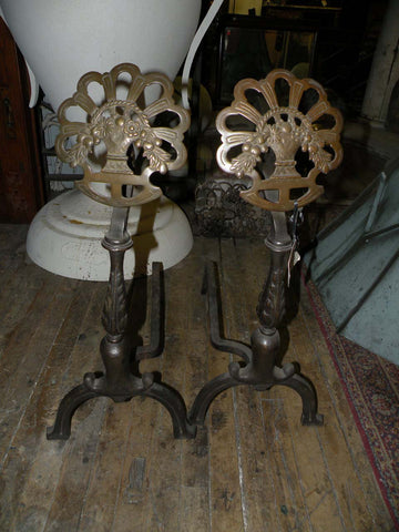 Antique Brass & Iron Andiron Set with Floral Baskets on a Sunburst