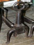 Vintage Iron Keyhole Style Cast Iron Andirons by Bennett Co.