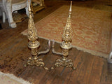 Large Pair of Antique Ornate Brass Andirons with Griffins & Cupids