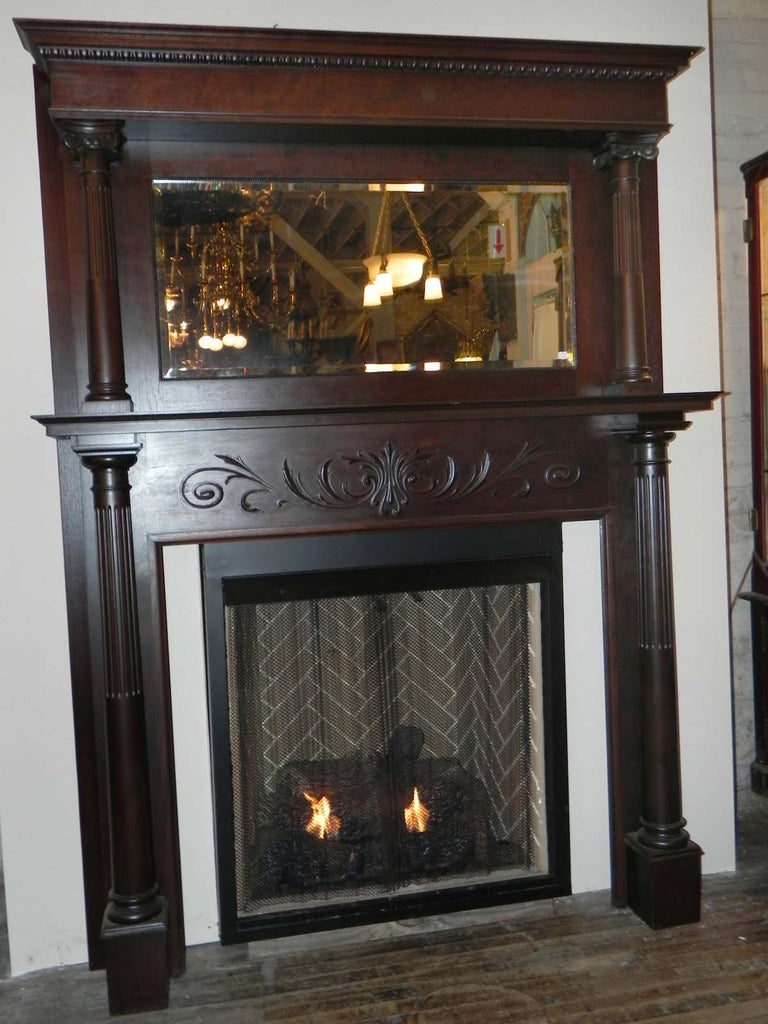 Late 19th Early 20th Century Full Fireplace Mantel With
