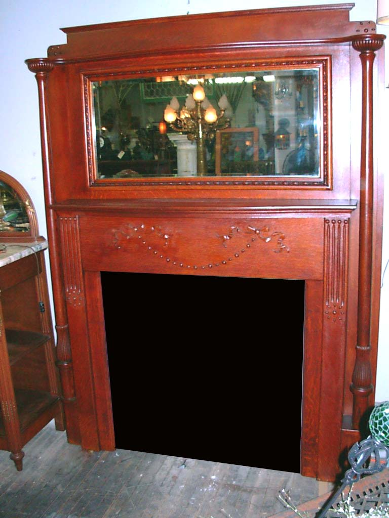 Full Size Antique Oak Fireplace Mantel With Mirror Unique Capitals Toledo Architectural Artifacts Inc