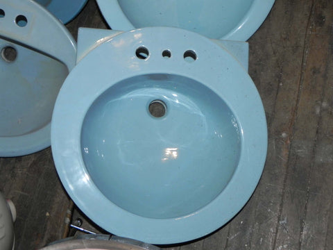 Vintage Vitreous Chine Counter Sink in Blue