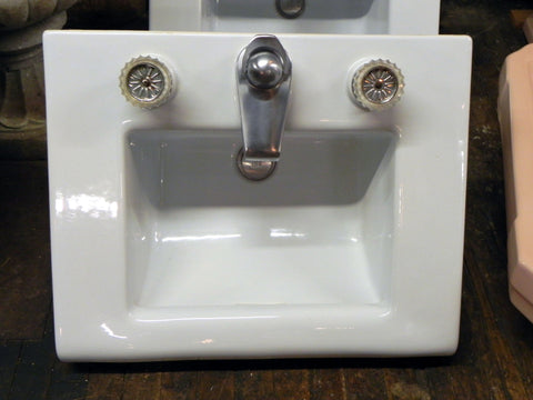 "Pair of Mid Century Bright White Crane ""Criterion"" Counter Wall Sinks"
