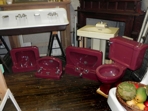 "Vintage ""Tang Red"" and ""Persian Red"" Plumbing Fixtures by Standard & Crane Plumbing Companies"