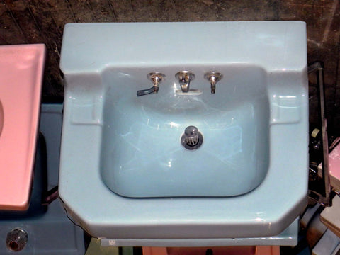 Large Vintage Crane Shelf Back Wall Sink w/Side Towel Bars in Blue