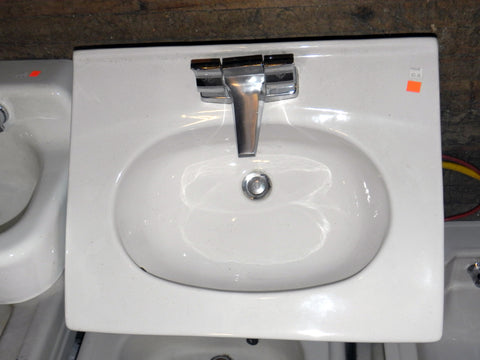 Retro Vintage Sears White China Sink with Original Faucet