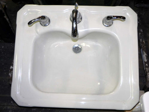 Vintage White Porcelain Cut Corner Sink